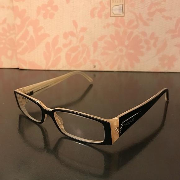 28da9f01484e Vogue Eyewear Accessories   Vogue Black And Cream With Diamonds On ...